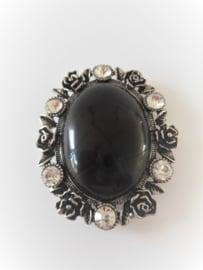 Magneet broche zwarte howliet edelsteen