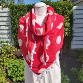 Polyester driehoek sjaal met kwastjes (rood| witte polka)