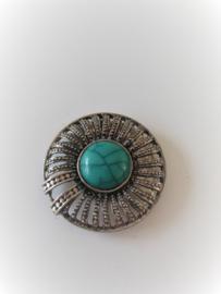 Magneet broche rond metaal turkoois blauwe steen