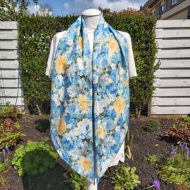 Polyester lange sjaal (blauw | rozen)