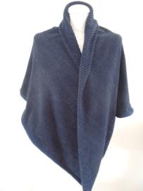 Chenille omslagdoek (donkerblauw | gebreid effect)