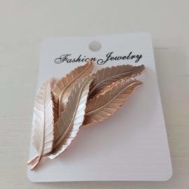 Kleuren tinten magneet broche (brons | 5 bladeren)