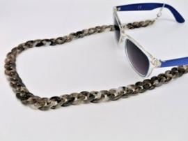 Acryl brillen ketting (grijs/bruin)