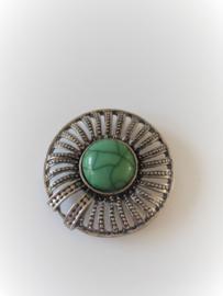 Magneet broche rond metaal turkoois groene steen