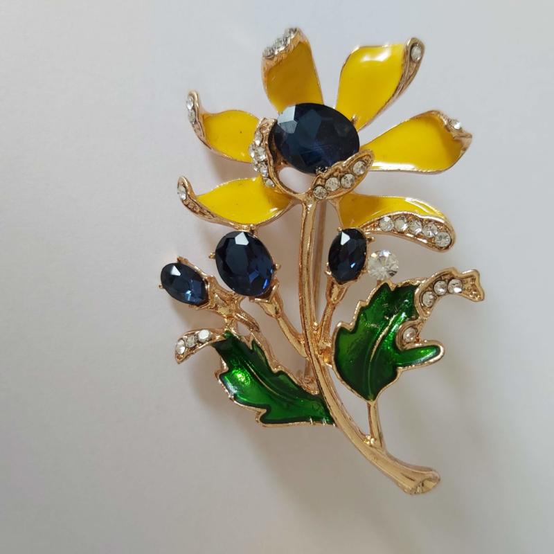 Kleuren combi broche (geel | bloemen1)