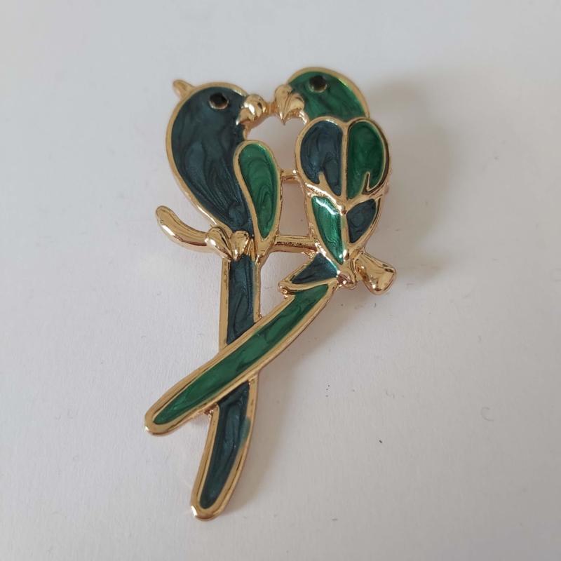 Kleuren combi broche (groen | vogel 5)