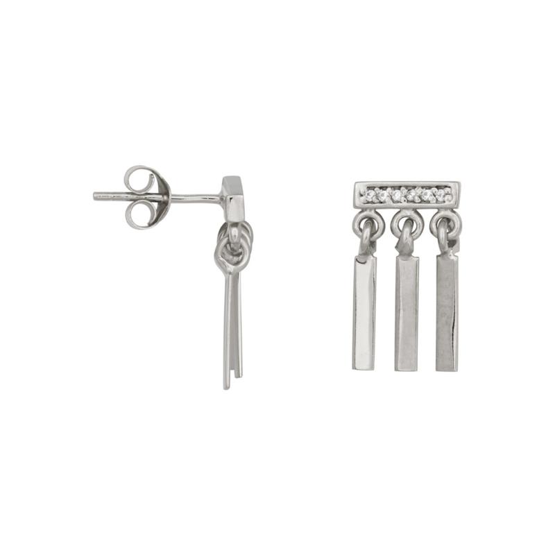 Eline Rosina - Triple bar zirconia earrings in sterling silver - Oorbellen