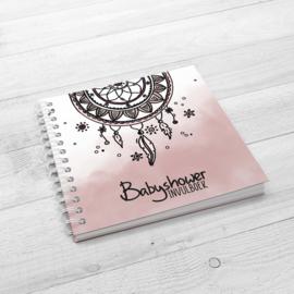 Het Babyshower Invulboek - Hardcover Wire-O (Oud Roze)