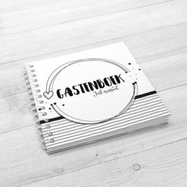 Gastenboek Bruiloft | 100 gasten - Hardcover Wire-o (Zwart/Wit)