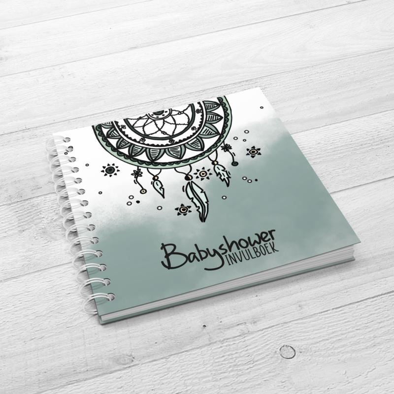 Het Babyshower Invulboek - Hardcover Wire-O (Oud Groen)