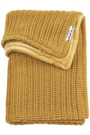 Meyco ledikantdeken velvet Herringbone honey gold