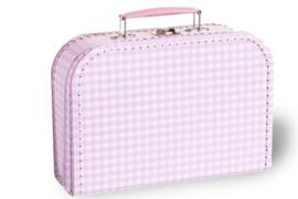 Koffertje roze-wit geruit