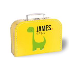 Koffertje met naam en geboortedatum | Dinosaurus