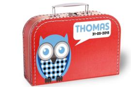 Koffertje met naam en geboortedatum | Uiltje blauw