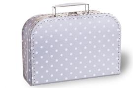 Koffertje zilver | witte stippen