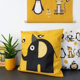 Kussen olifant | feestbeesten - okergeel