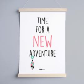 Poster babykamer roze | new adventure