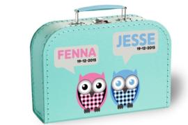 Koffertje met naam en geboortedatum | Tweeling uiltjes