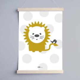 Poster babykamer oker | leeuw
