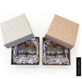 Haarlokje en melktandjes potjes | giftset grijs