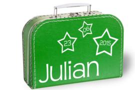 Koffertje met naam en geboortedatum | Sterretjes