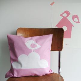 Kussen roze | vogel