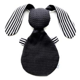 Konijn knuffel | zwart wit | streep