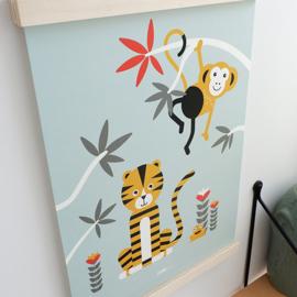 Poster kinderkamer | jungle aap en tijger - groen