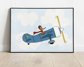 Poster babykamer | Wally in het vliegtuig