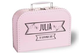 Koffertje met naam en geboortedatum | Label