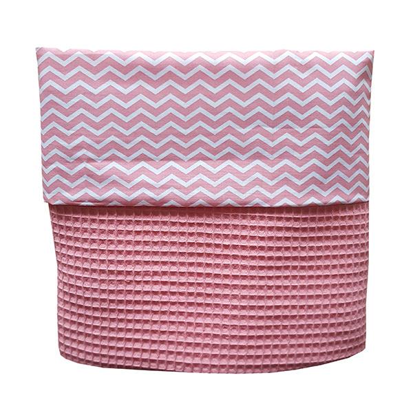 Ledikantdeken roze | zigzag