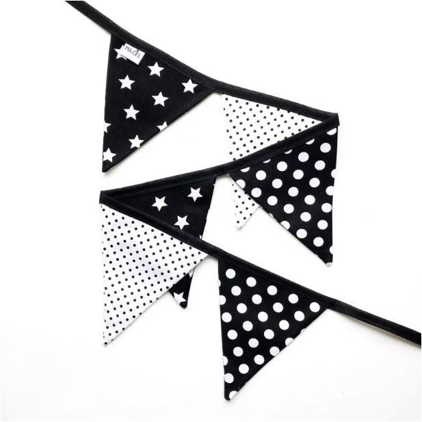 Vlaggenlijn sterren | zwart wit