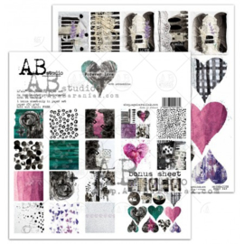 """Set 8x scrapbooking papers """"Forever love""""- 30x30+bonus page"""