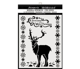 Thick Stencil 20x25cm White Christmas Deer