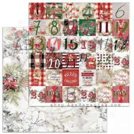 "Scrapbooking paper ""A Holly Jolly Christmas""- sheet 2 ""Christmas calendar"" -12'x12'"