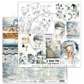 """Scrapbooking paper """"I ove you to the moon..."""" -sheet 512'x12'"""