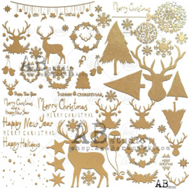 """Gold scrapbooking paper """"Glam paper""""- sheet 1 """"Glam christmas page"""" -12'x12'"""