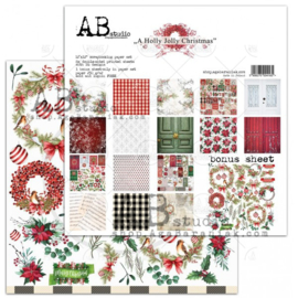 """A Holly Jolly Christmas"" scrapbooking paper set 8x 12'x12'"