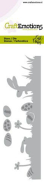 CraftEmotions Die - Bunny 1 - grasrand met eieren Card 5x15cm Carla Creaties