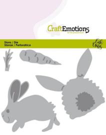 CraftEmotions Die - Bunny 1 -konijn met wortel Card 11x9cm Carla Creaties