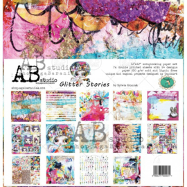 """Glitter Stories"" scrapbooking paper set 8x 12'x12'"