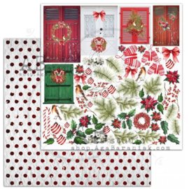 "Scrapbooking paper ""A Holly Jolly Christmas""- sheet 6 ""Jolly elements"" -12'x12'"