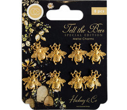 Tell the Bees Special Edition Metal Charms Gold Bees