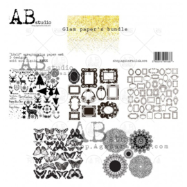 """Glam paper's bundle"" Gold scrapbooking paper set 5x 12'x12'"