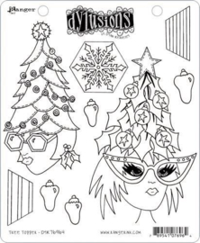 Dylusions Cling Stamp Set Tree Topper