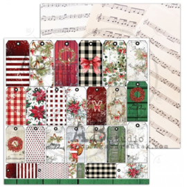 "Scrapbooking paper ""A Holly Jolly Christmas""- sheet 7 ""Jolly tags"" -12'x12'"