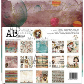 """Set 7x scrapbooking papers """"Just a girl with a bear"""" TandiArt- 12""""x12"""""""