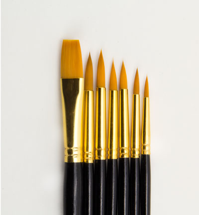 Artist Brush Set (6x round, 1x flat)