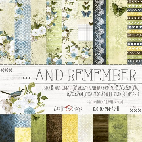 AND REMEMBER - A SET OF PAPERS 15,25X15,25CM