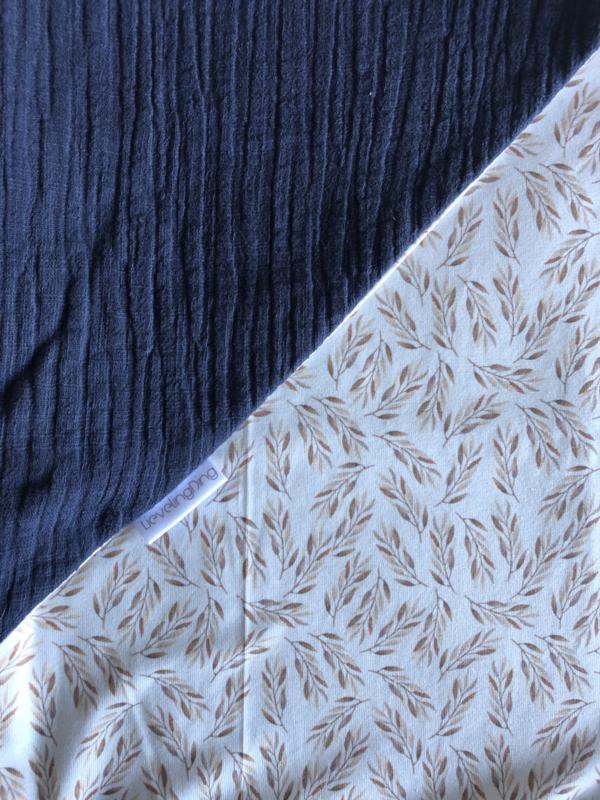 Wikkeldoek Jeansblauw/olijftakje